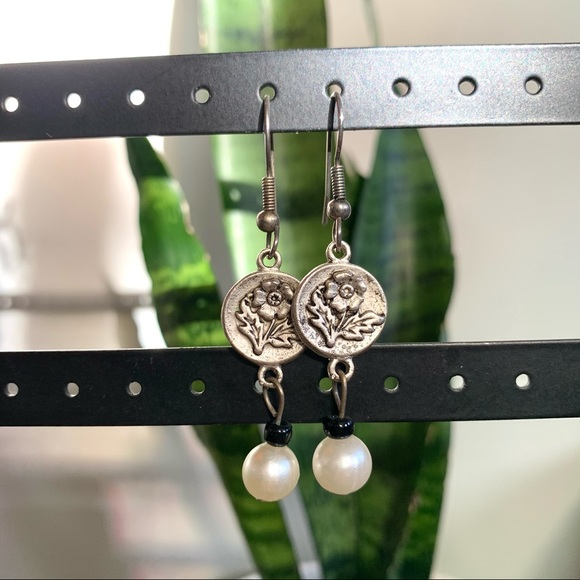 Vintage Silver Floral Earrings with Faux Pearls